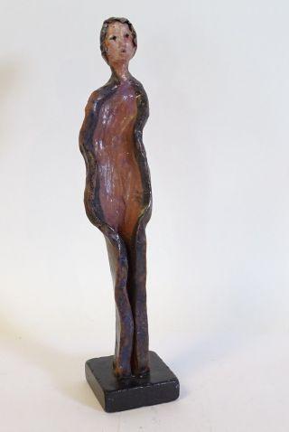Ausgefallene Keramik Figur Dame Hochwertige Künstlerische Arbeit Signiert Stand Bild