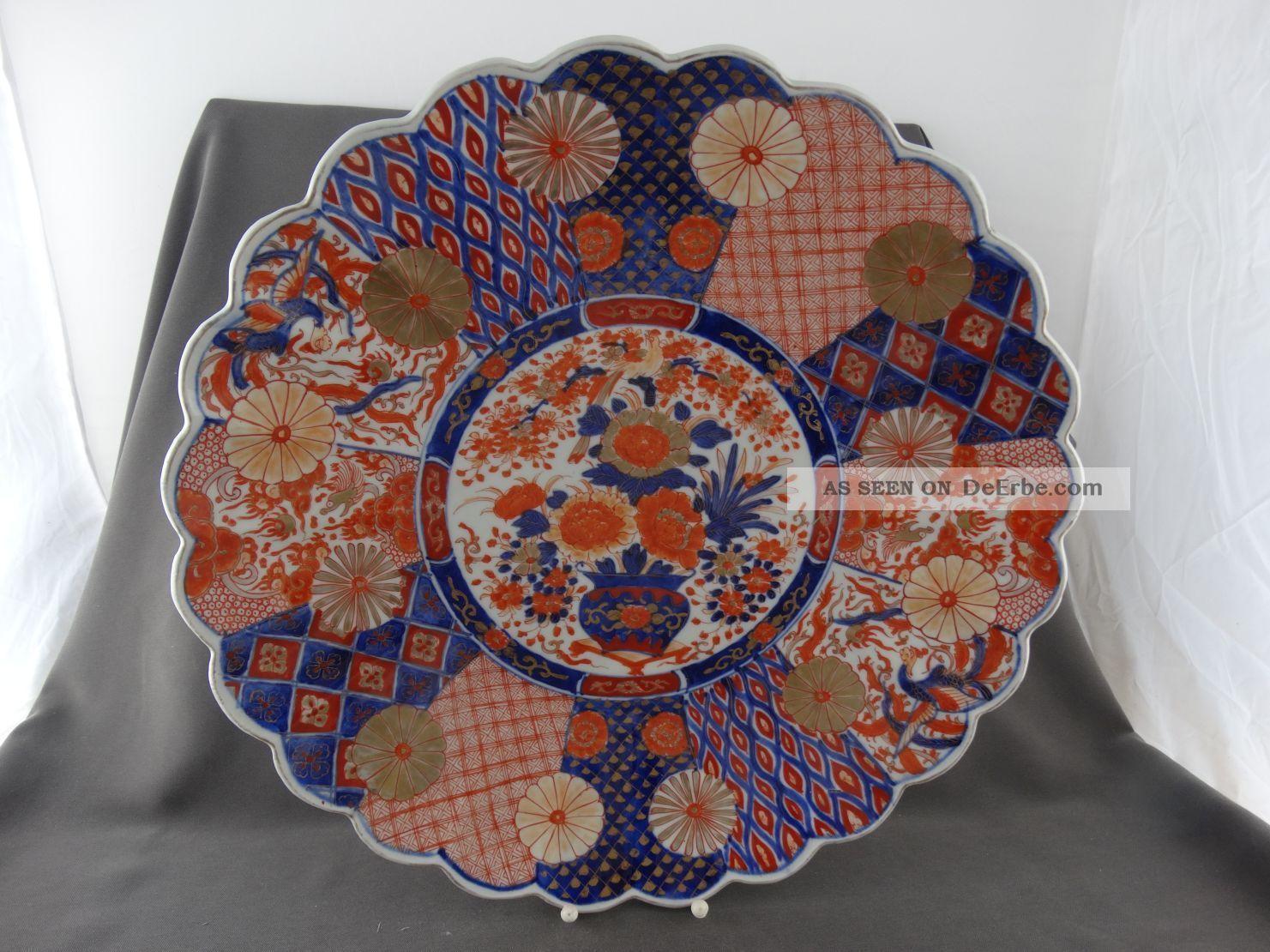 Japan Keramik Großer Alter Imari Teller Blau Rot Gold Reiche Blumenmalerei - 42 Asiatika: Japan Bild