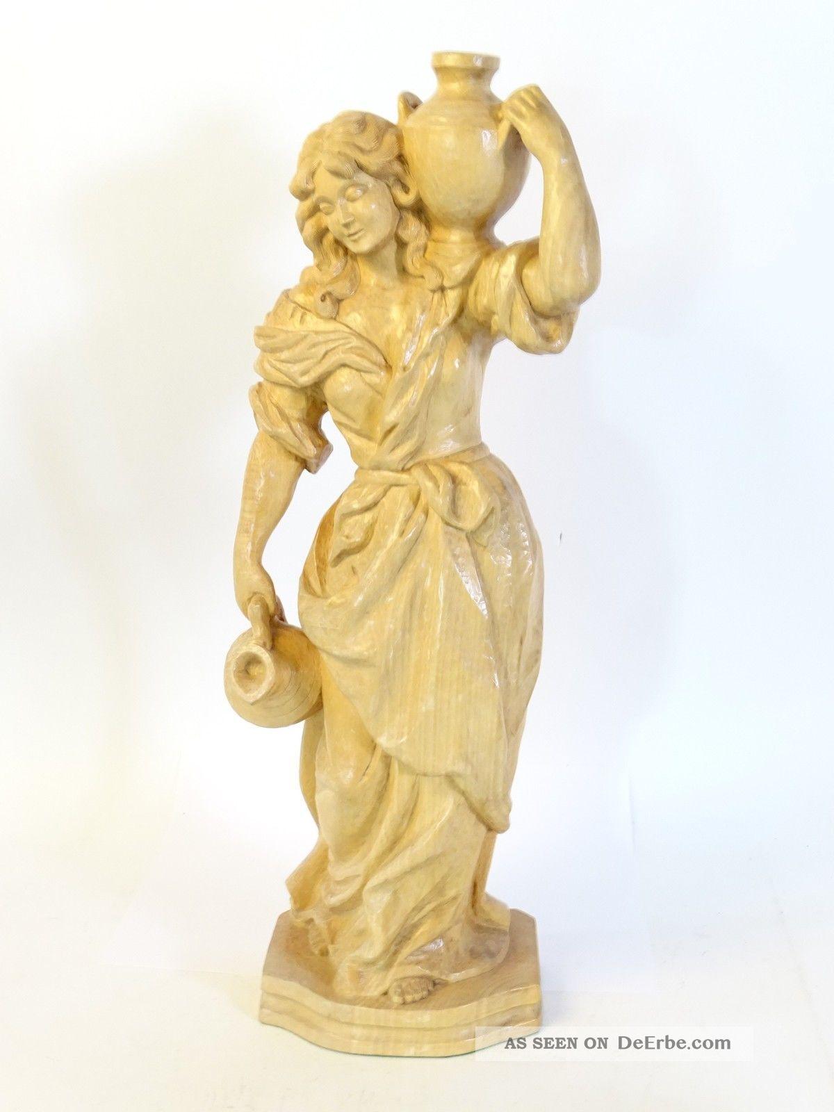 Antik Große Holz Figur Handgeschnitzt Dame Bäuerin Mit Krügen In Hand Hochwertig Holzarbeiten Bild