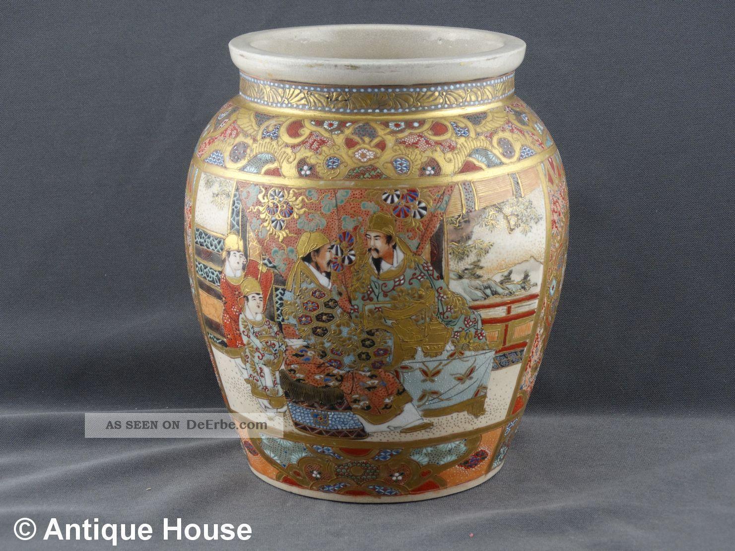 Satsuma Japan Alte Vase Schultertopf Motivmalerei Personen Krieger Um 1900 Nach Marke & Herkunft Bild
