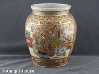 Satsuma Japan Alte Vase Schultertopf Motivmalerei Personen Krieger Um 1900 Bild