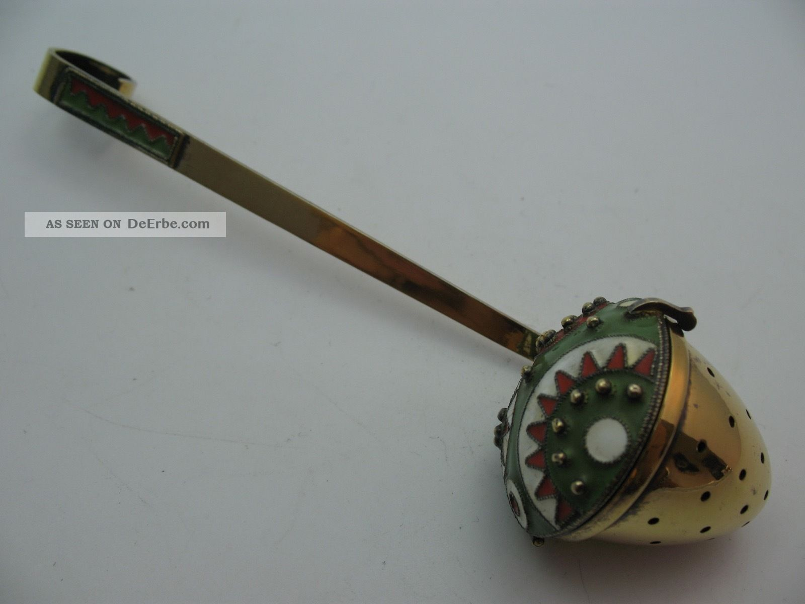 Russland Wunderschnes Seltenes Altes Teesieb Aus 916 Silber Mit Emaille Objekte nach 1945 Bild