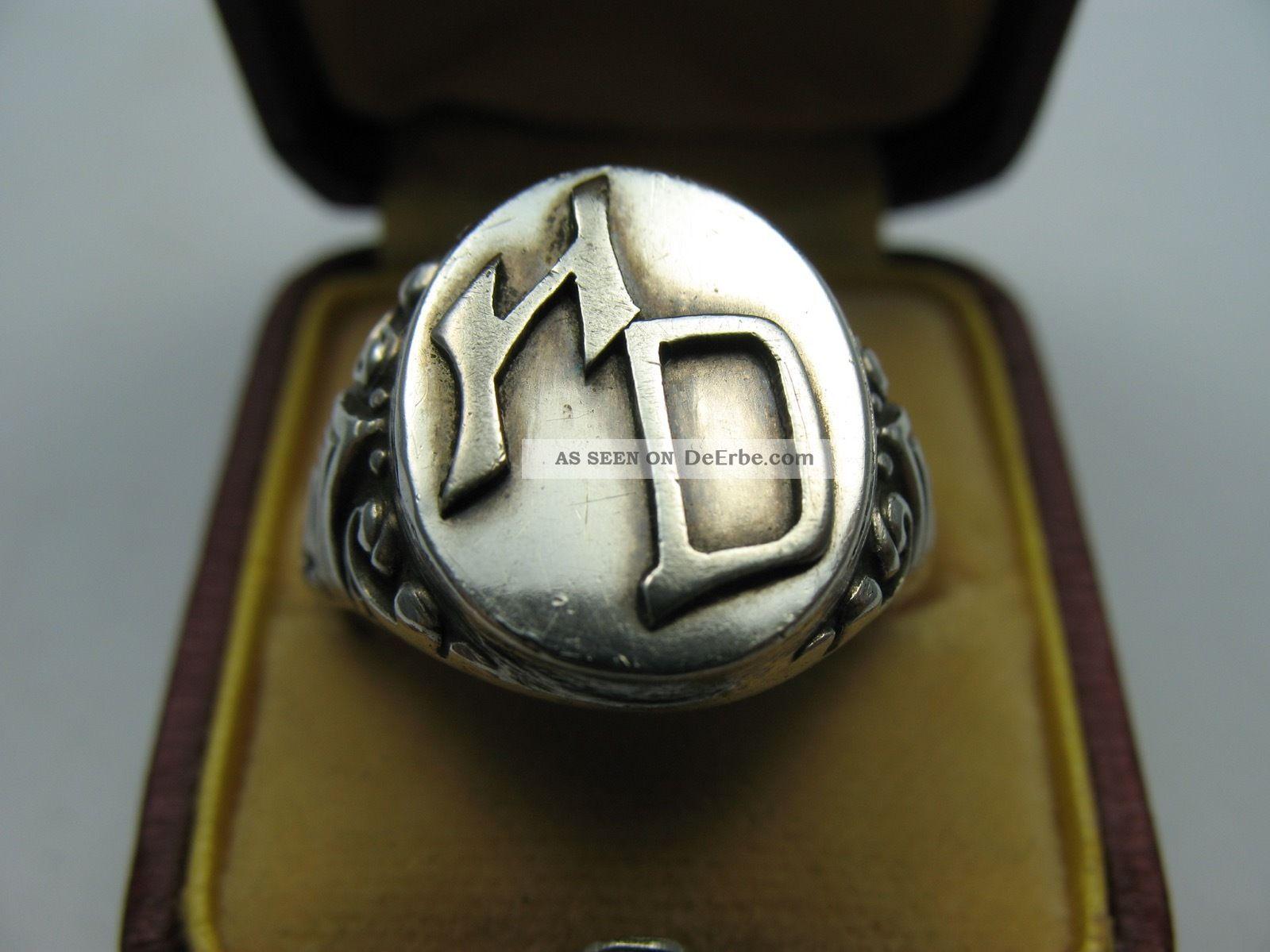 Sehr Schöner Alter Siegelring H D Aus 800 Silber Ringe Bild