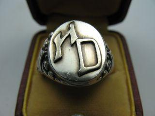 Sehr Schöner Alter Siegelring H D Aus 800 Silber Bild