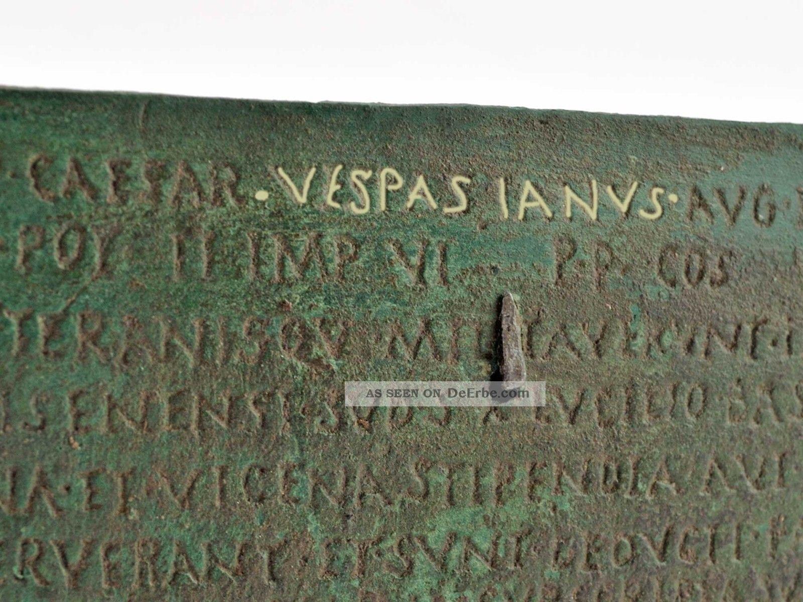 Militärdiplom Unter Kaiser Vespasian Bronze Patiniert Antike Bild