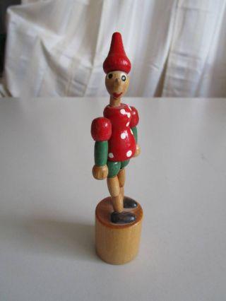 Holz - Drück Pinoccio - Figur - 13,  5 Cm Bild