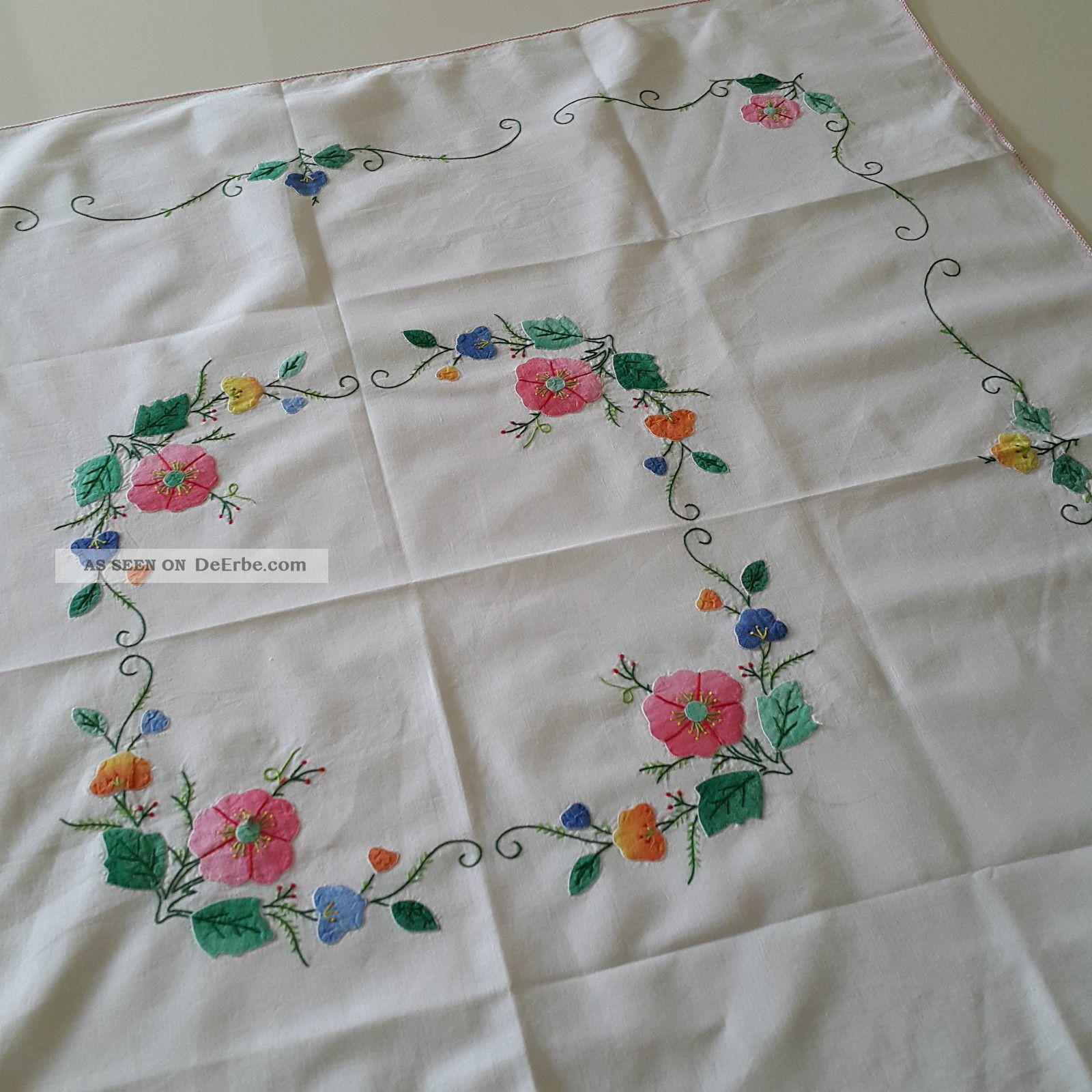 Mitteldecke Vintage 82x86 Cm Leinen Frühling Blumenkranz Blumen Farbenfroh Tischdecken Bild