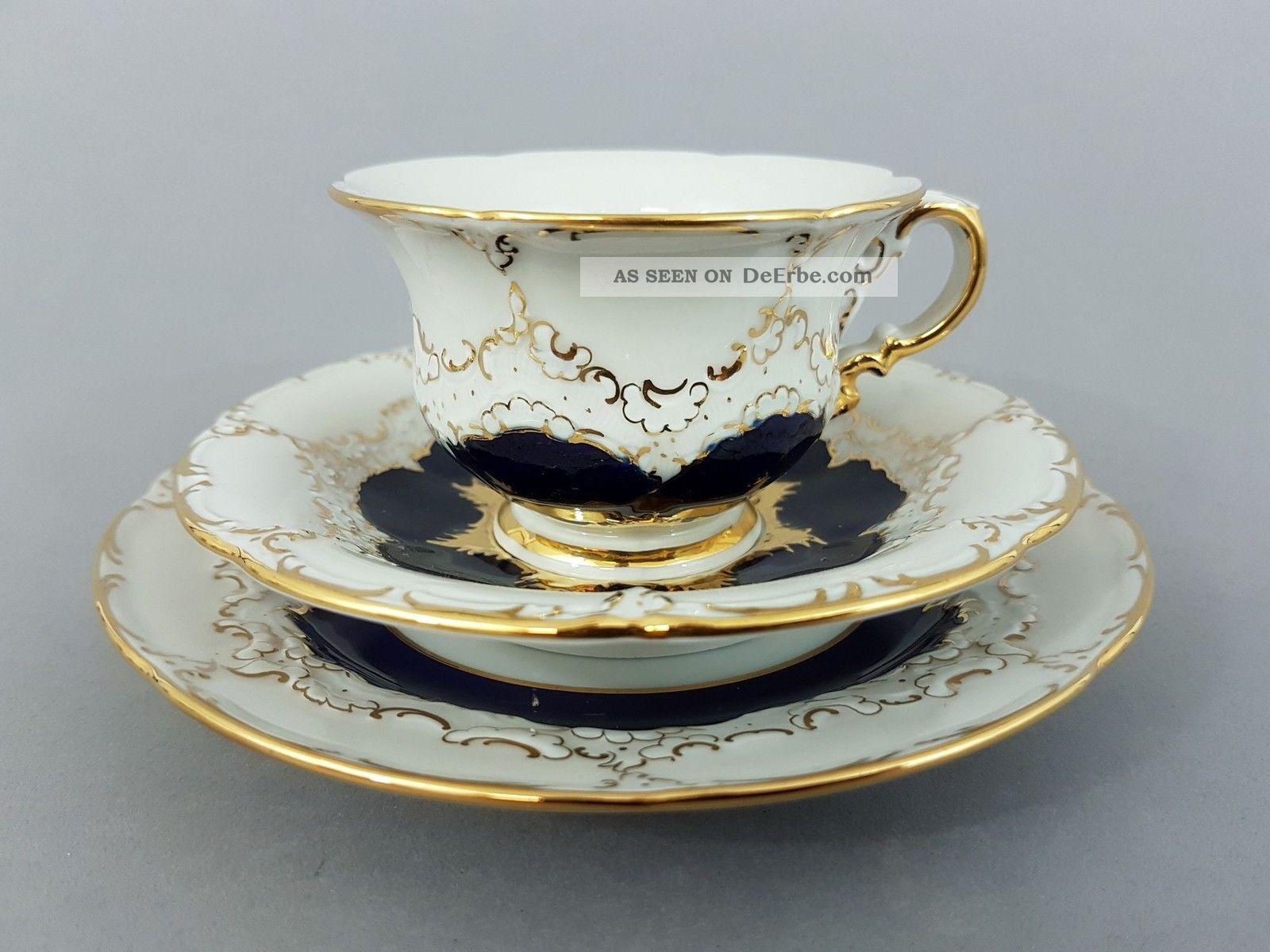 Meissen 3 - Teiliges Mokkagedeck,  B - Form,  Kobaltblau Und Gold Meissen Bild