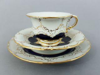 Meissen 3 - Teiliges Mokkagedeck,  B - Form,  Kobaltblau Und Gold Bild