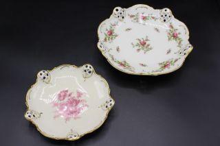 2 Rosenthal Zierteller Schälchen Mit Blumendekor Moosrose & Elfenbein Bild