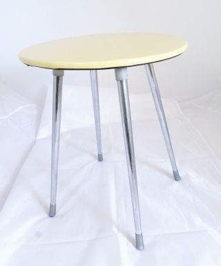 Hailo Vintage 60er Jahre Hocker Chrom Beine Füße Bezug Beige Ocker Gelb Bild