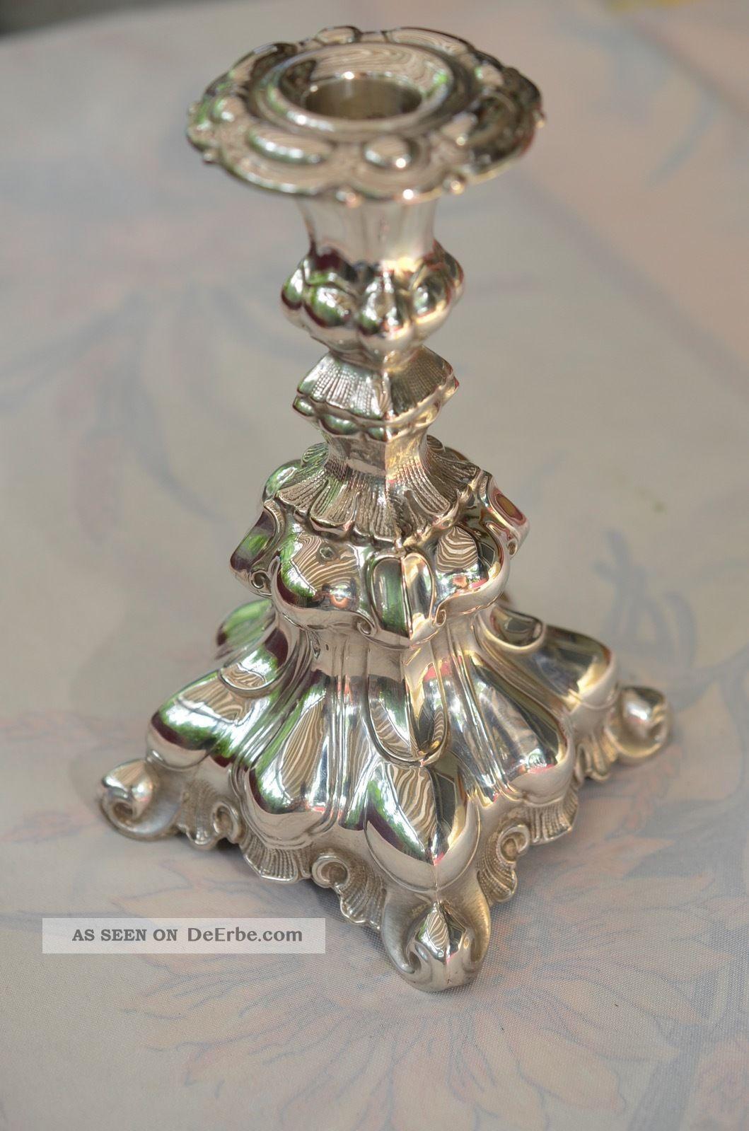 Alter Kerzenständer Kerzenleuchter Im Barockstil Dänemark Silber 830 J.  Sigsgaard Objekte vor 1945 Bild