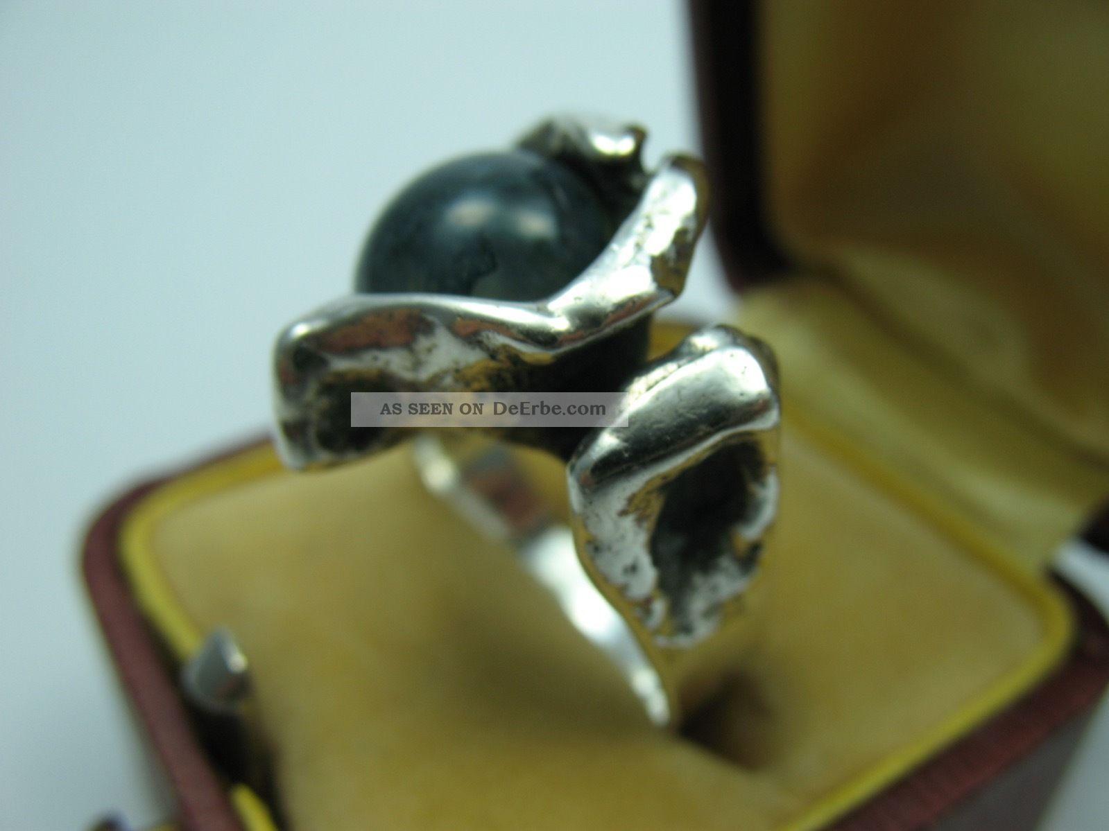 Burkhard Und Monika Oly Top Moosachat Vintage Modernist Designer Ring 835 Silber Ringe Bild