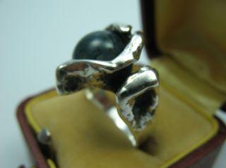 Burkhard Und Monika Oly Top Moosachat Vintage Modernist Designer Ring 835 Silber Bild