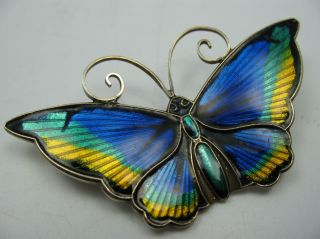 David Andersen Norway Top Emaille Schmetterling Brosche Aus 925 Sterling Silber Bild