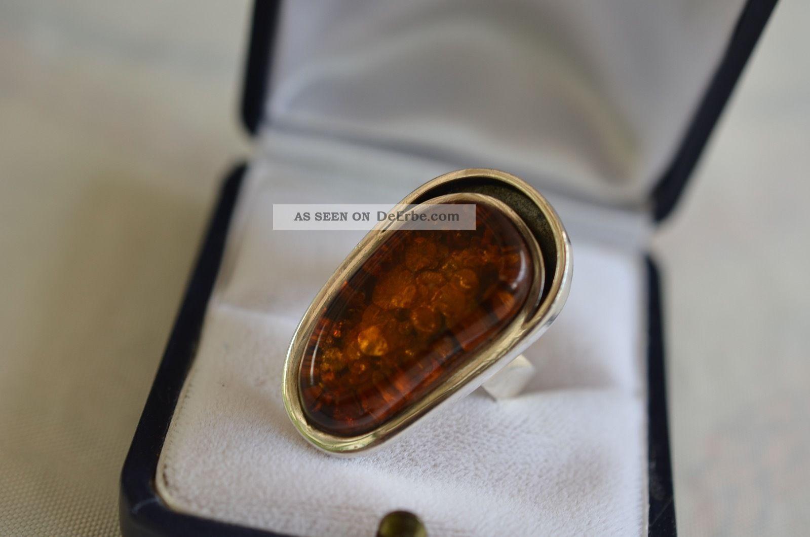 Schöner Ausgefallener Großer Massiver Silber 925 Bernsteinring Ringe Bild
