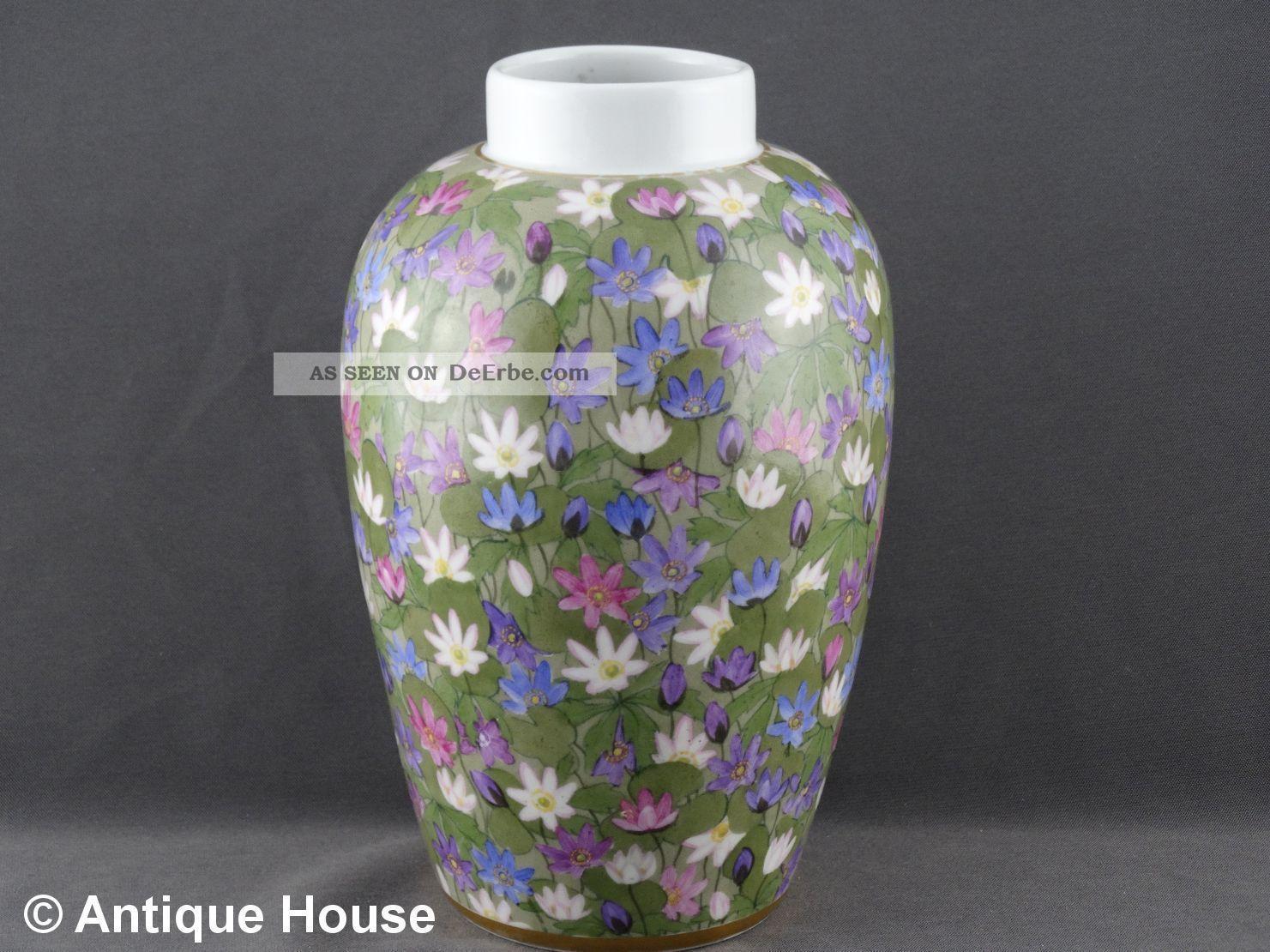 Nymphenburg Alte Vase Jugendstil Handgemalt Signiert R.  Sieck Nach Marke & Herkunft Bild