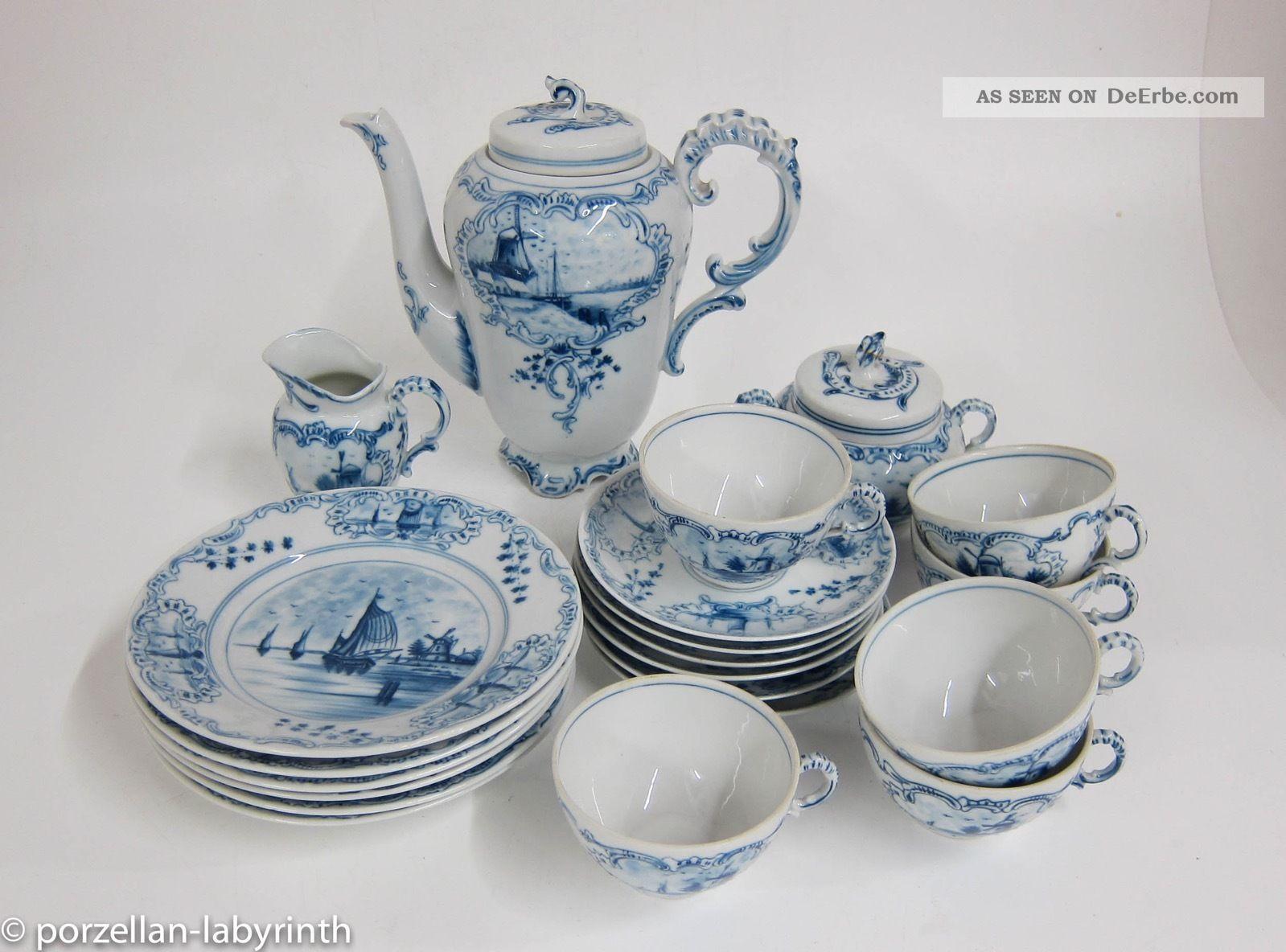 Antikes Kaffeeservice 6 Personen Rauenstein Delft Holland Motive Nach Marke & Herkunft Bild