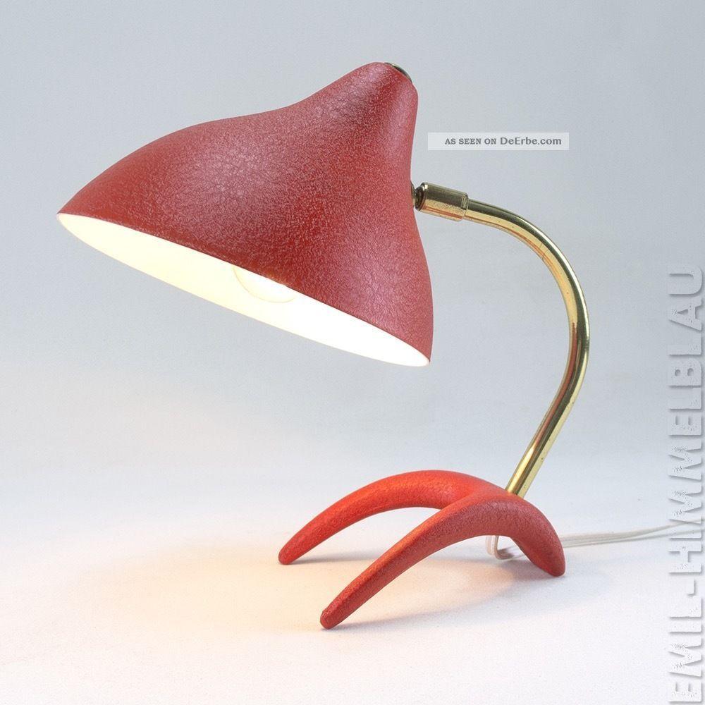 Louis Kalff KrÄhenfuss Tischlampe 50s Lampe Rot 50er Vintage Leuchte Desk Lamp 1950-1959 Bild
