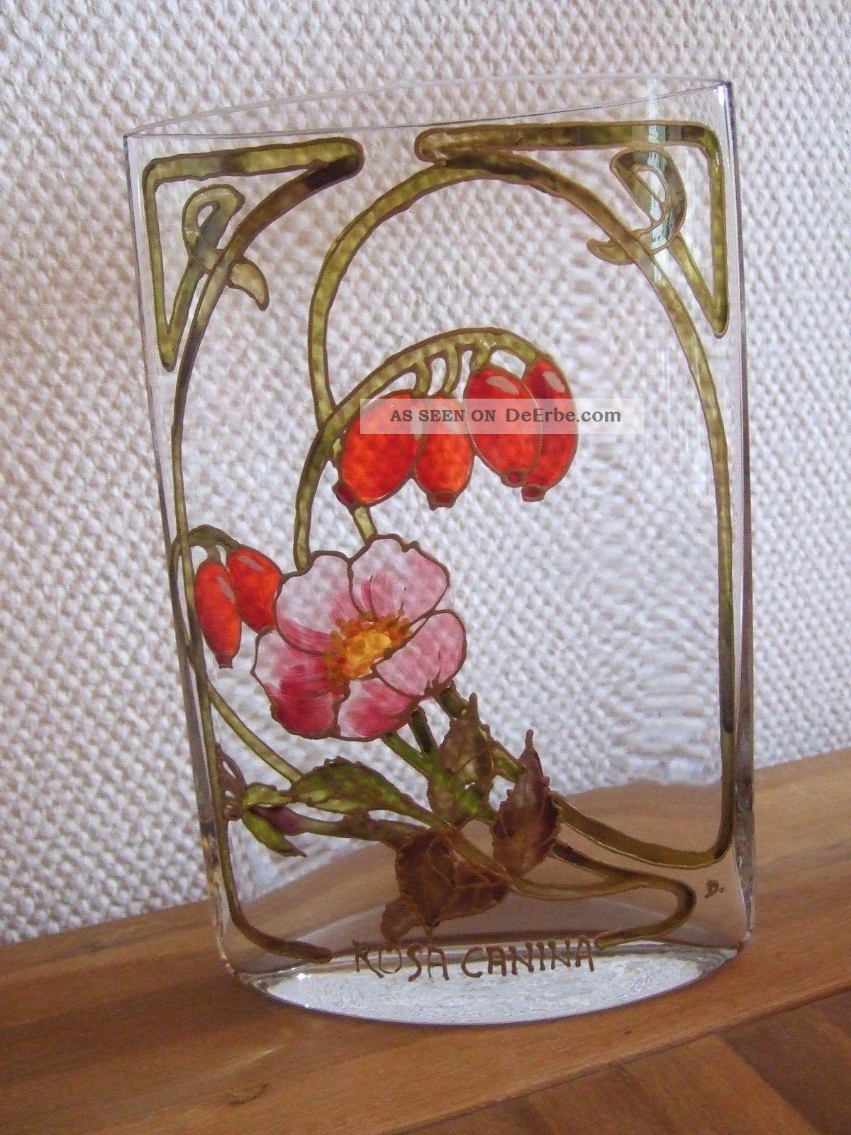 Rosa Canina - SchÖne Glas - Vase / Blumenvase Glasmalerei - Handarbeit - Signiert Glas & Kristall Bild