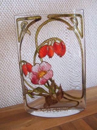 Rosa Canina - SchÖne Glas - Vase / Blumenvase Glasmalerei - Handarbeit - Signiert Bild