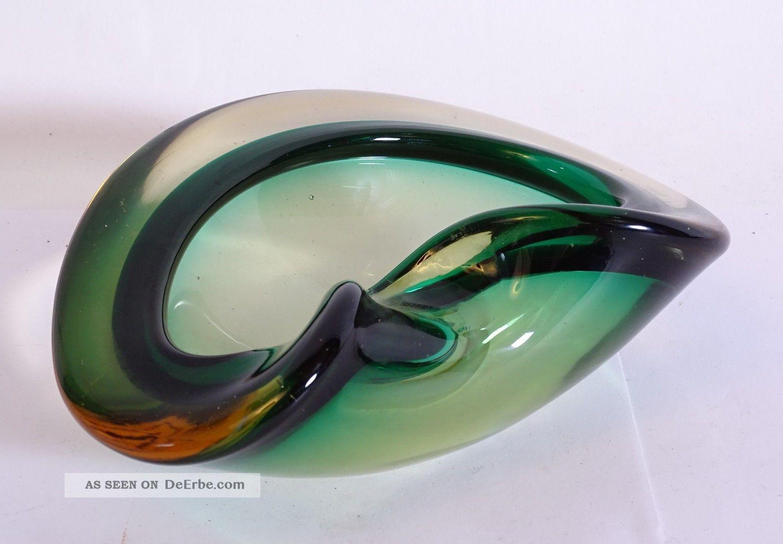 70er Panton Ära Pop Art Dickwandiger Murano Glas Aschenbecher Ash Tray Rarität Glas & Kristall Bild