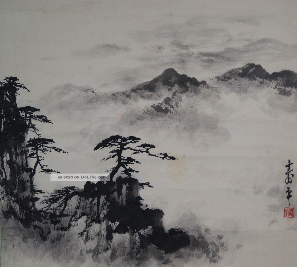 Antikes Japanisches Rollbild Kakejiku Nebellandschaft Japan Scroll 3443 Asiatika: Japan Bild