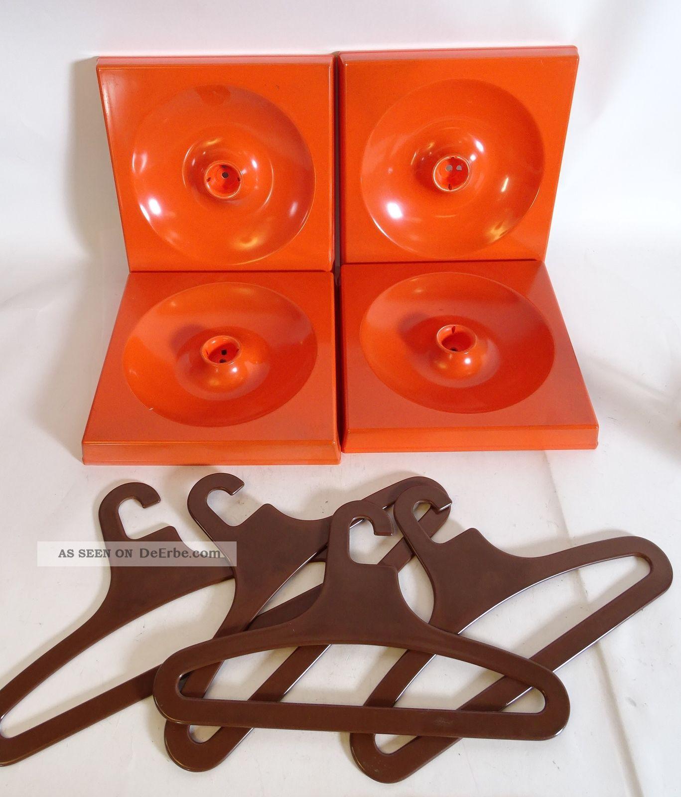 Schönbuch Quadro Gardarobe 5 Elemente Inkl Haken,  Kleiderbügel Space Age Orange 1970-1979 Bild