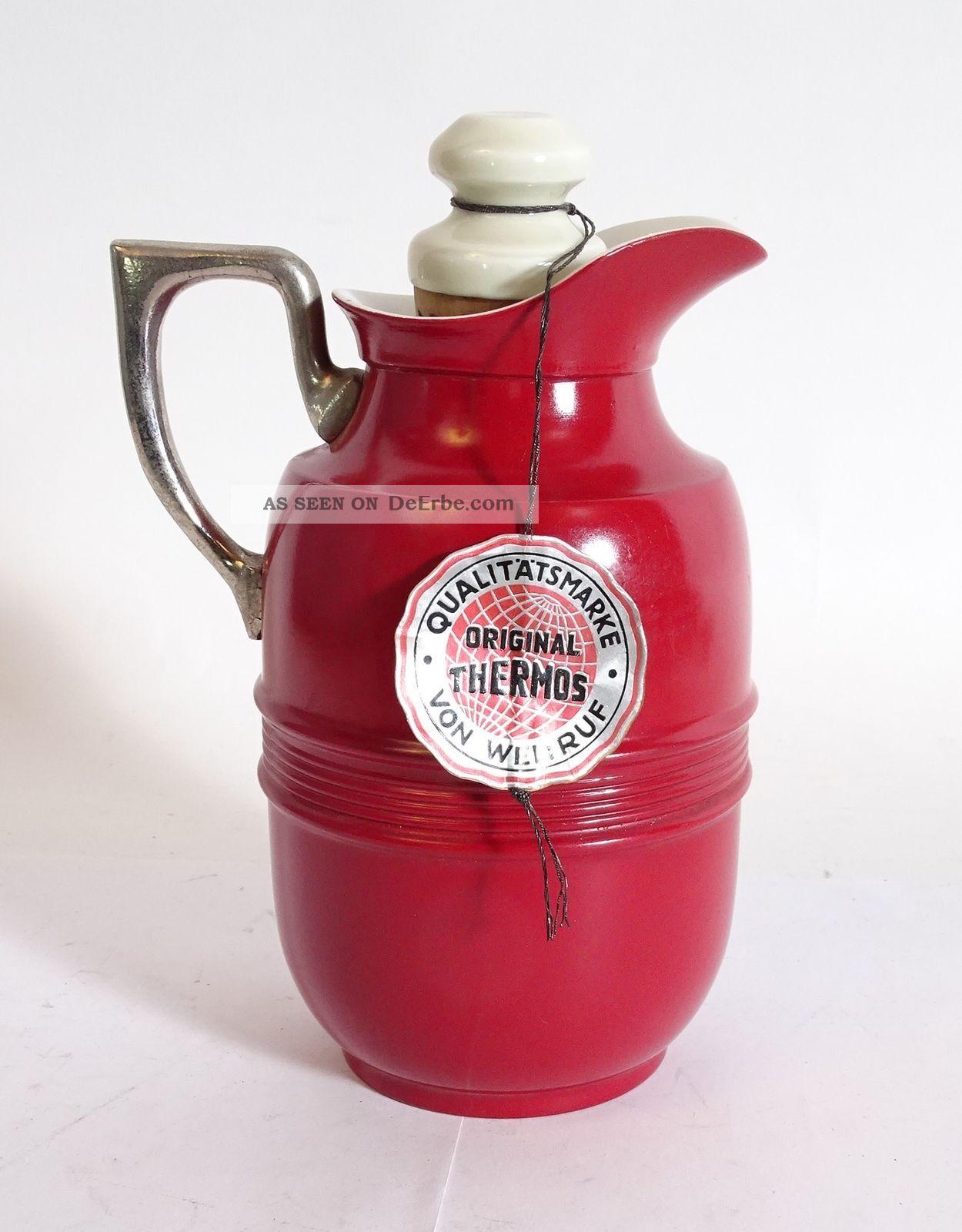 Top Rarität Thermos Kanne Porzellan Rot Qualitätsmarke Von Weltruf Top 1950-1959 Bild