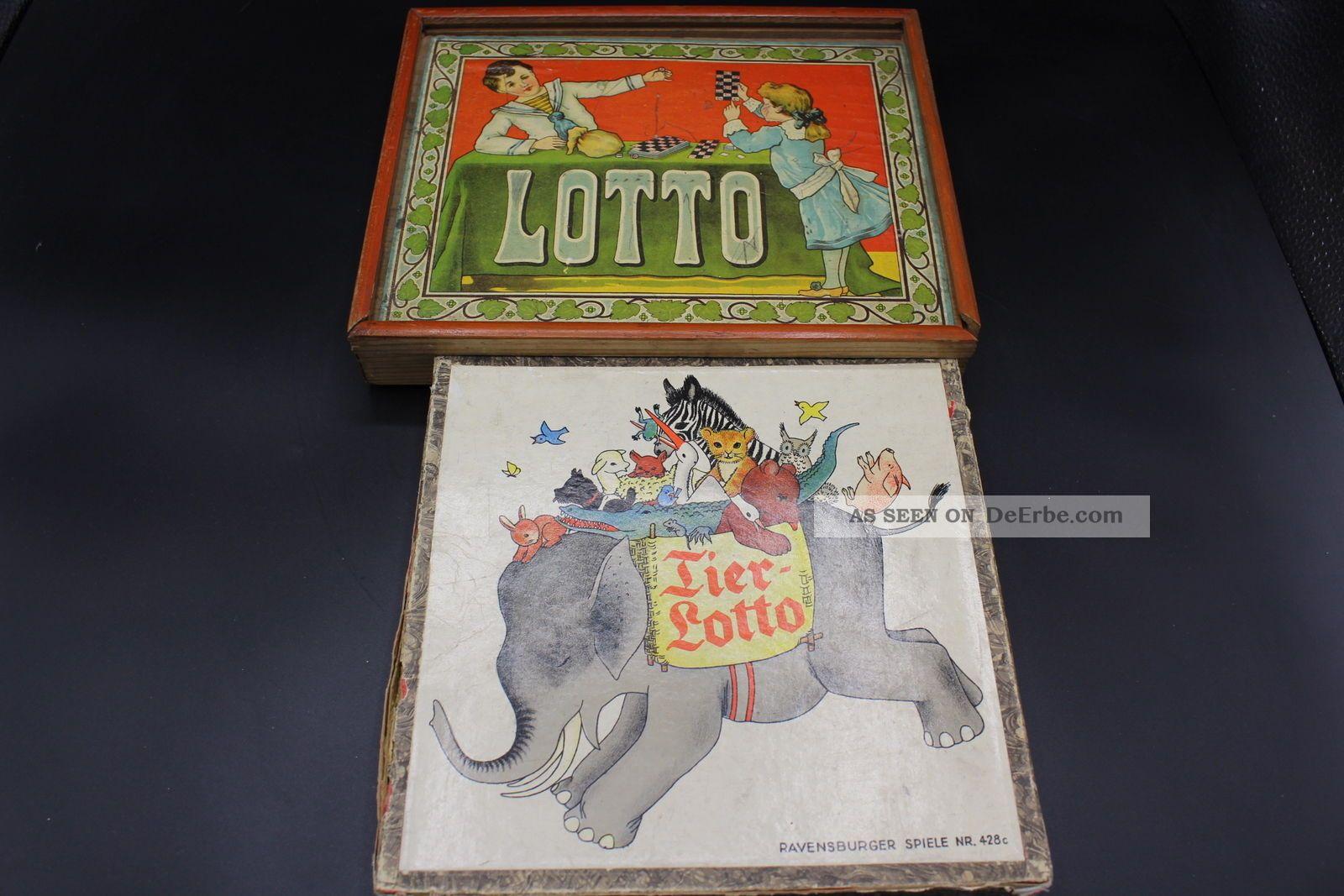 2 Antike Spiele Tierlotto & Lotto Vintage 1910 - 1930 Gefertigt vor 1945 Bild