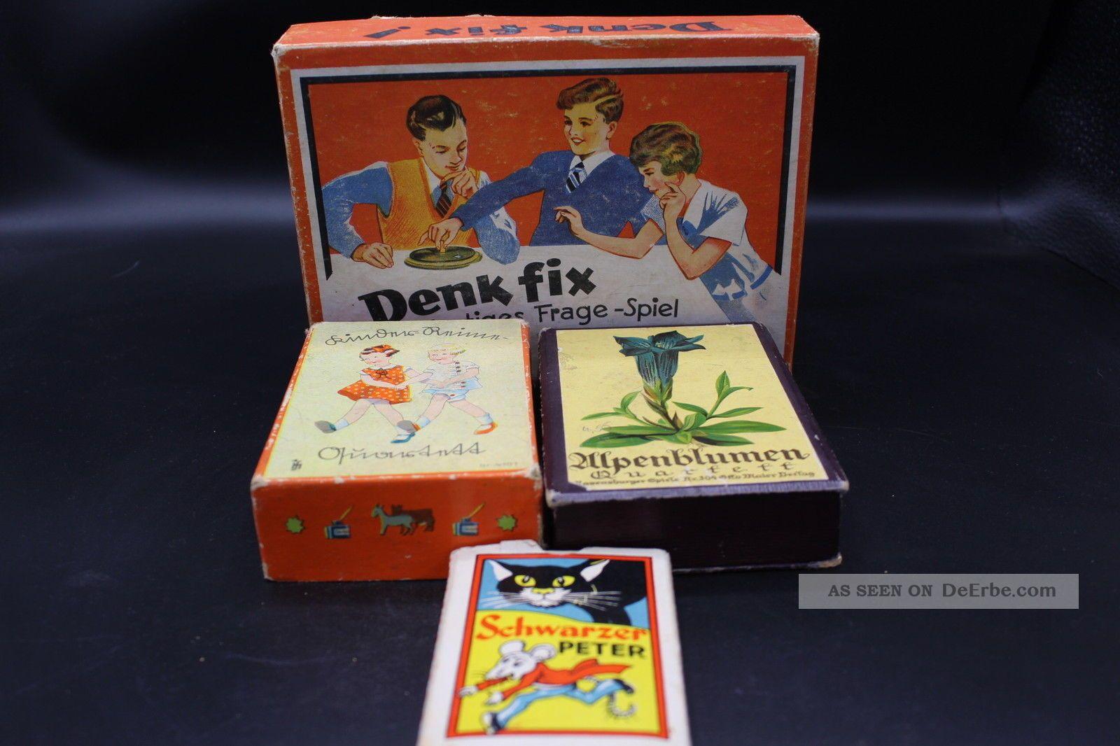 4 Antike Spiele Schwarzer Peter Quartett Denk Fix Vintage 1940 Gefertigt vor 1945 Bild
