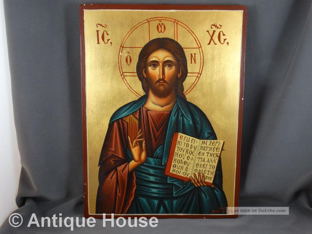 Ikone Heiligenbild Icon Griechisch Gemalt Auf Holz Vergoldet Ikonen Bild