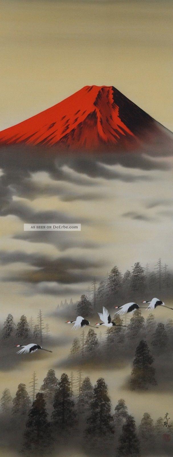 Antikes Japanisches Rollbild Kakejiku Kraniche Und Berg Fuji Japan Scroll 3500 Asiatika: Japan Bild