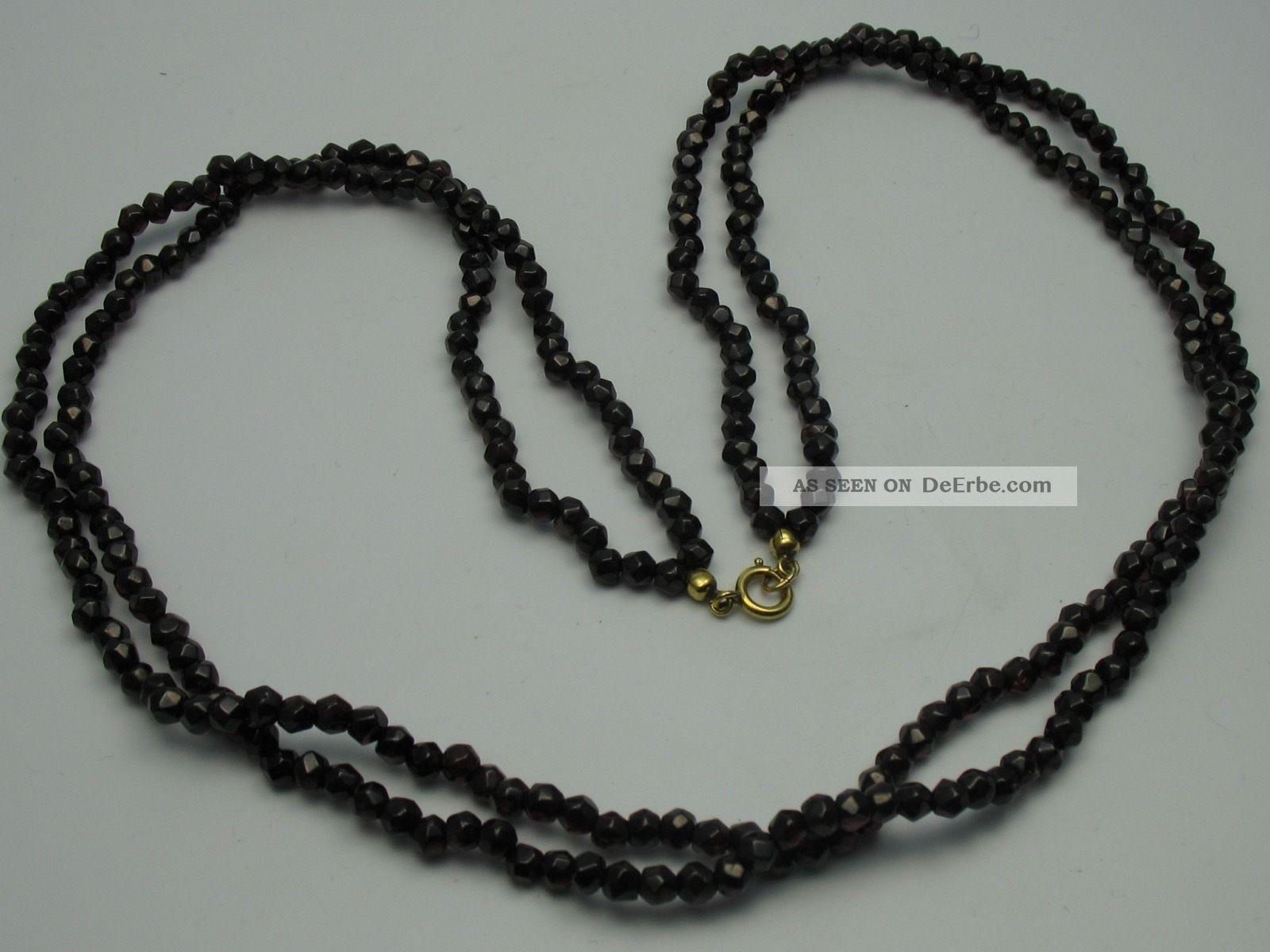 Sehr Schöne 2 Reihige Facettiert Geschliffenen Halskette Aus Böhmischen Granat Ketten Bild