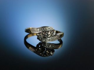 Fifties Klassischer Funkelnder Vintage Diamond Ring Gold 585 Diamanten Brillant Bild