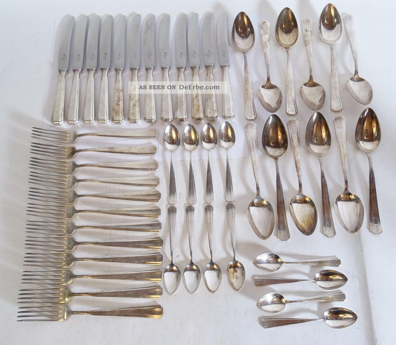 Wmf Friodur Besteck 48 Teile Versilbert Messer Gabel Löffel 12 Personen Objekte ab 1945 Bild