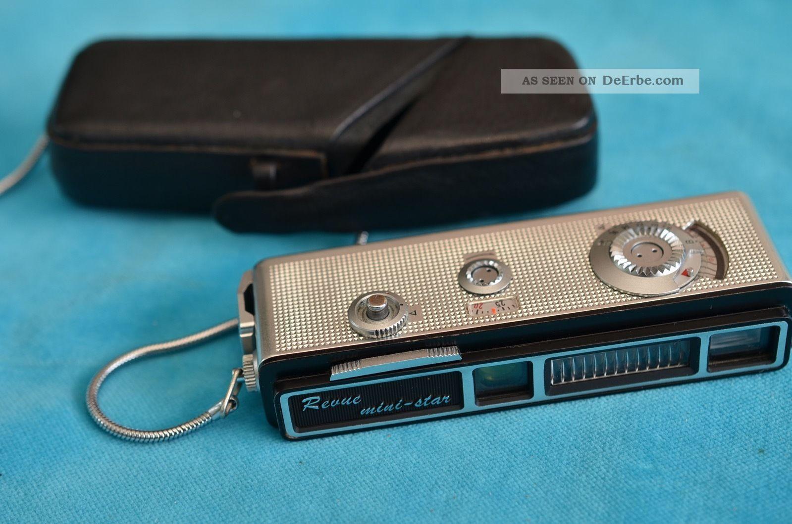 Sammlerstück Alte Pocketkamera Miniaturkamera Revue Mini - Star Mit Lederetui Photographica Bild