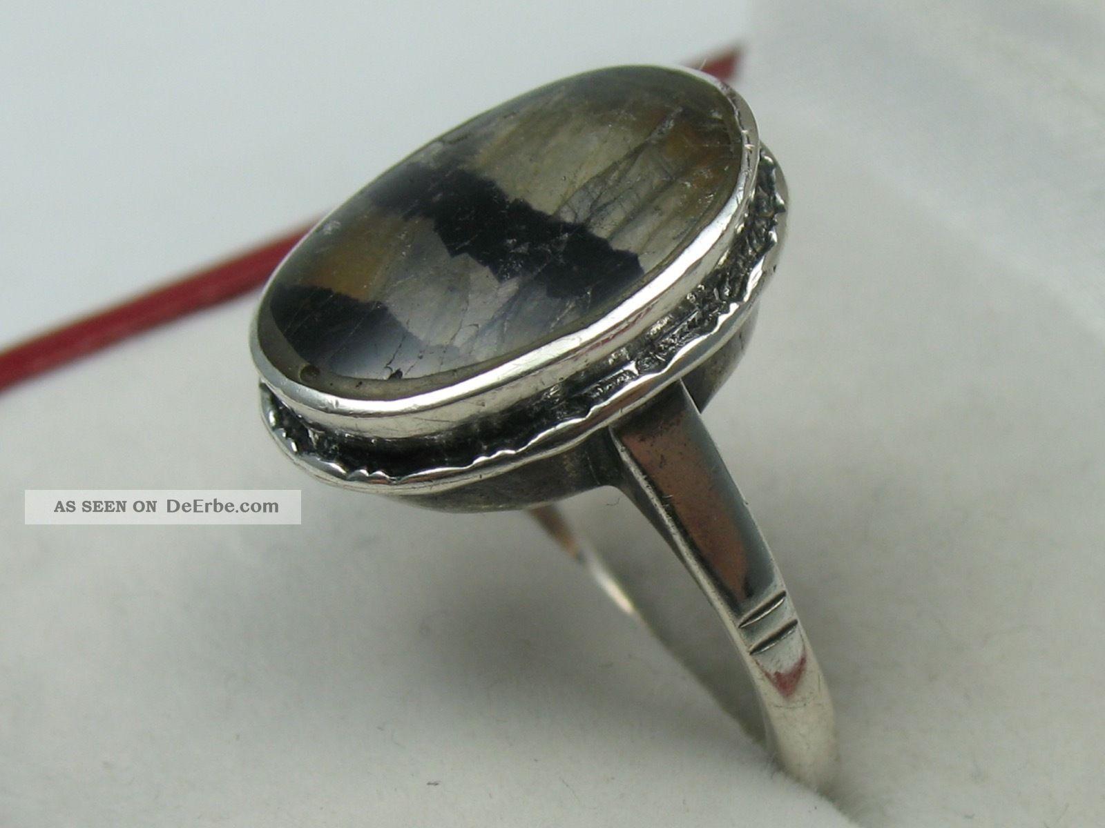 Sehr Schöner Alter Ring Um 1930 Aus Silber Mit Fluorit Ringe Bild