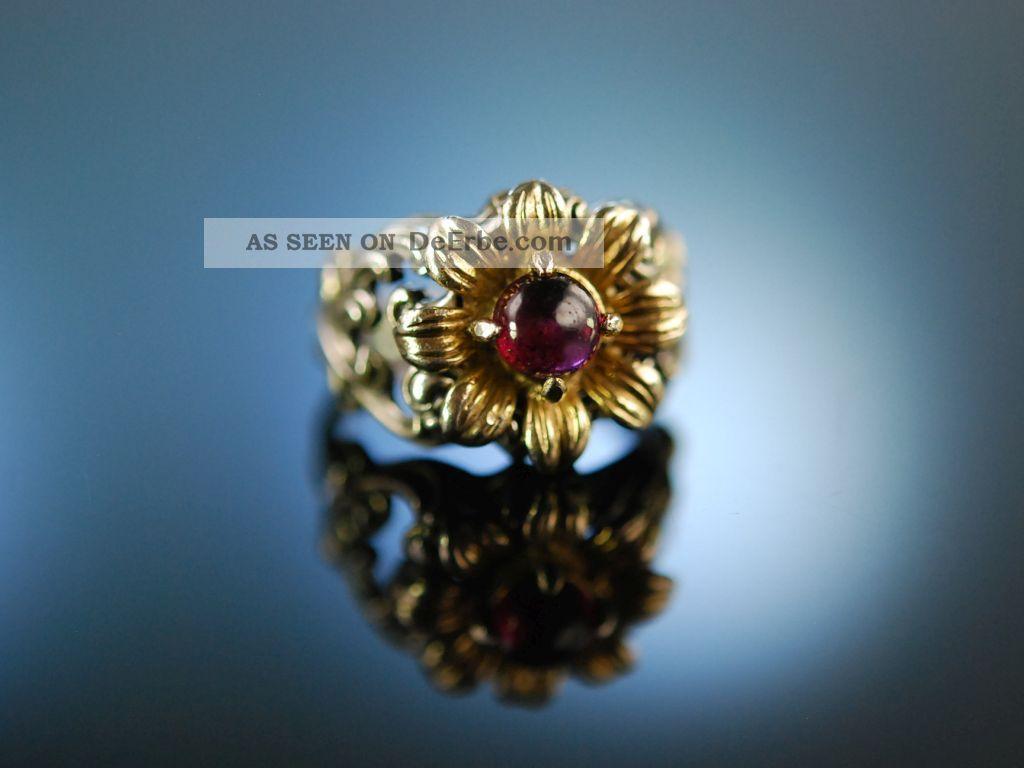 Trachten Schmuck Zur Wiesn Ring Silber 835 Vergoldet Granat Um 1950 Blachian Ringe Bild