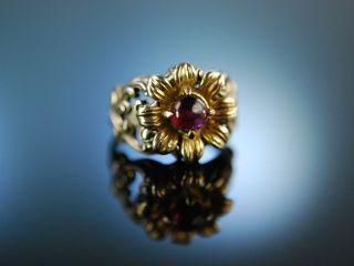Trachten Schmuck Zur Wiesn Ring Silber 835 Vergoldet Granat Um 1950 Blachian Bild