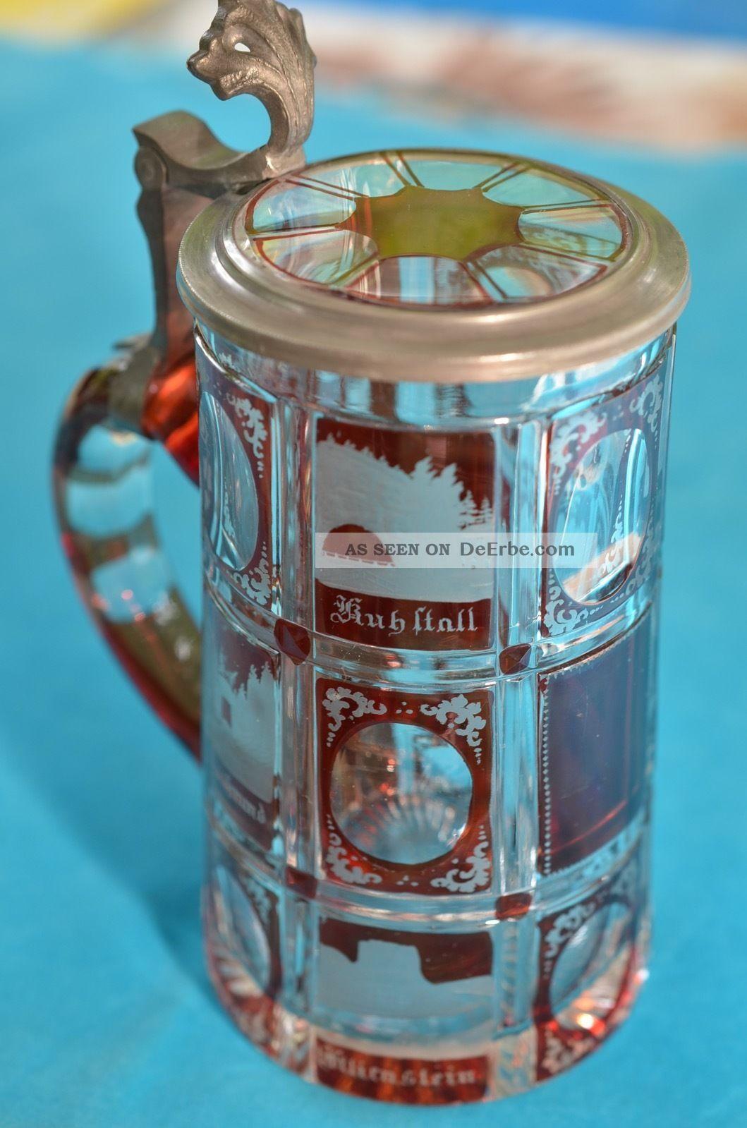 Alter Antiker Prunkvoller Echt Geschliffener Kristallkrug Andenkenkrug Um 1900 Sammlerglas Bild