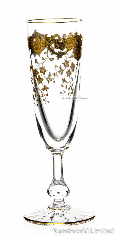 Rares Sektglas Saint Louis Massanet Golddekor 1.  Wahl Top Kristall Bild