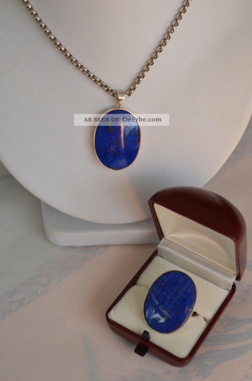 Schönes Schmuckset Lapislazuli Silber 925 Kette Mit Anhänger Und Ring Schmuck & Accessoires Bild