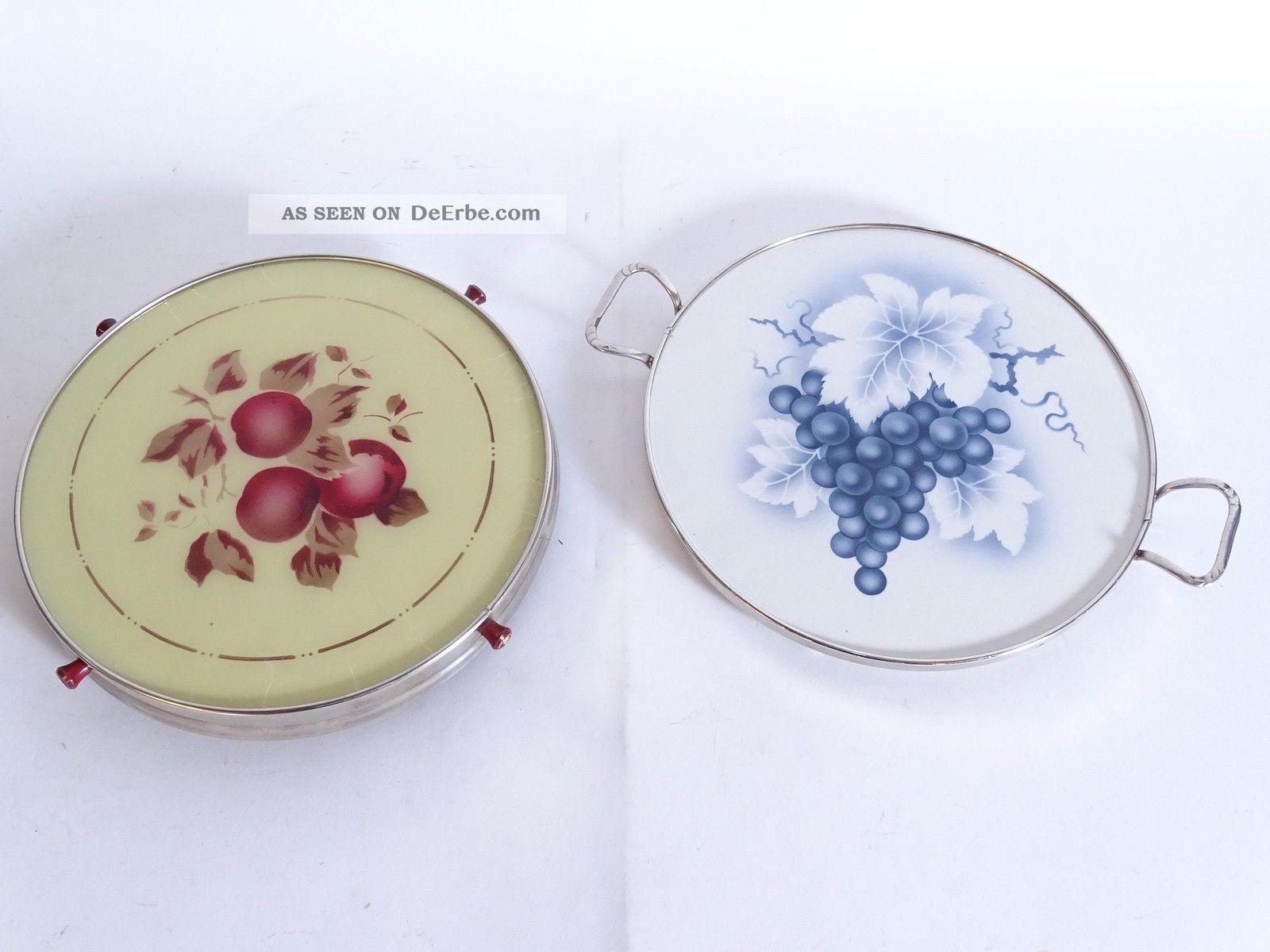 Paar Wunderschöne Art Déco Tortenplatten Mit Trauben Und Apfel Motiv 1920-1949, Art Déco Bild