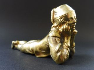Jugendstil Bronze Boy Osmane Fes Paperweight Briefbeschwerer Ottoman Art Nouveau Bild