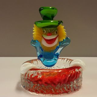 Murano Clown Aschenbecher Ashtray Bunt Farbenfroh Mundgeblasen Top Bild