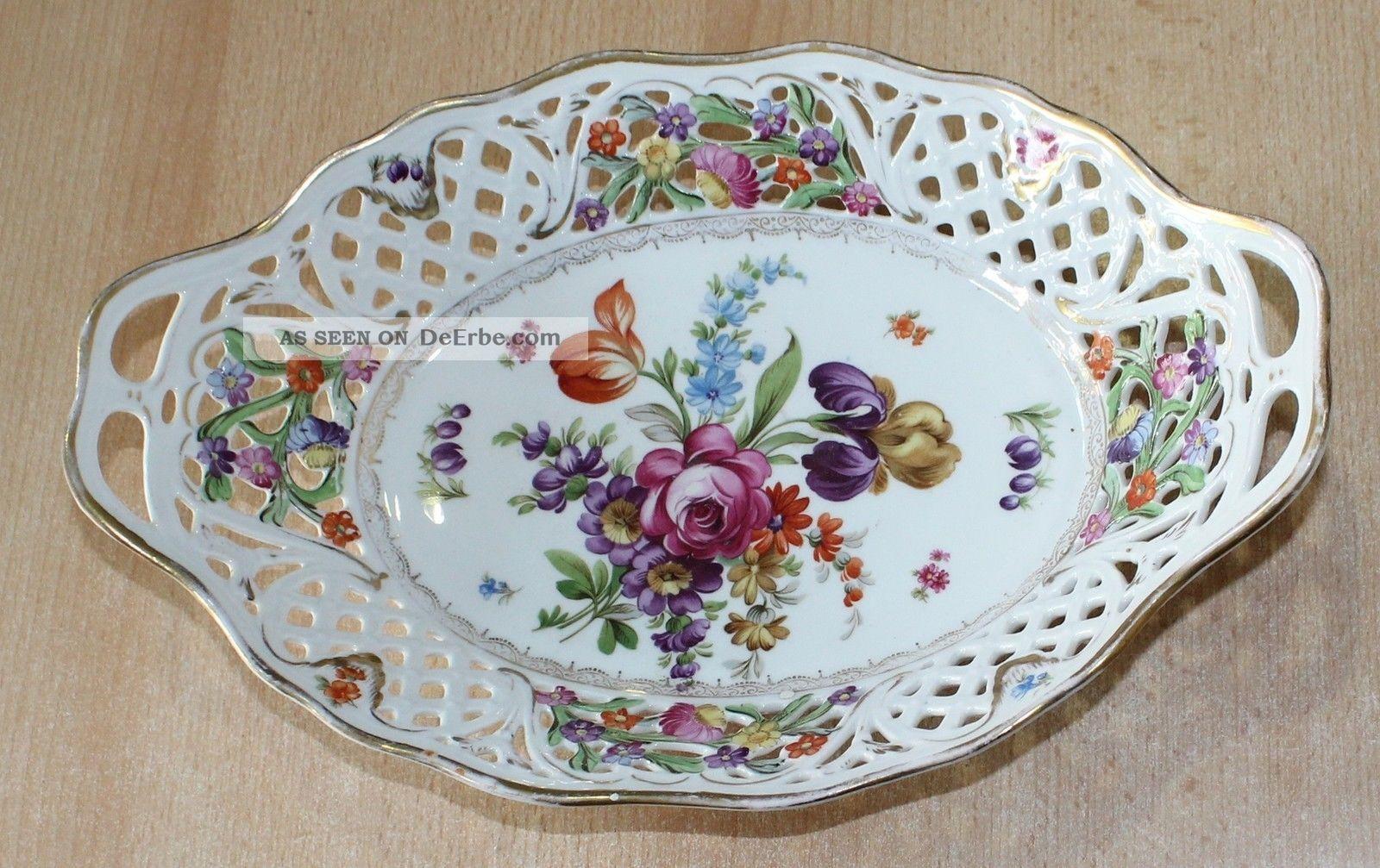 Schumann Porzellan Große Durchbruch - Schale Korb Oval 30cm Blumen - Dekor Goldrand Nach Form & Funktion Bild