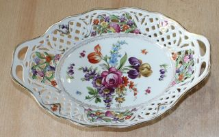 Schumann Porzellan Große Durchbruch - Schale Korb Oval 30cm Blumen - Dekor Goldrand Bild