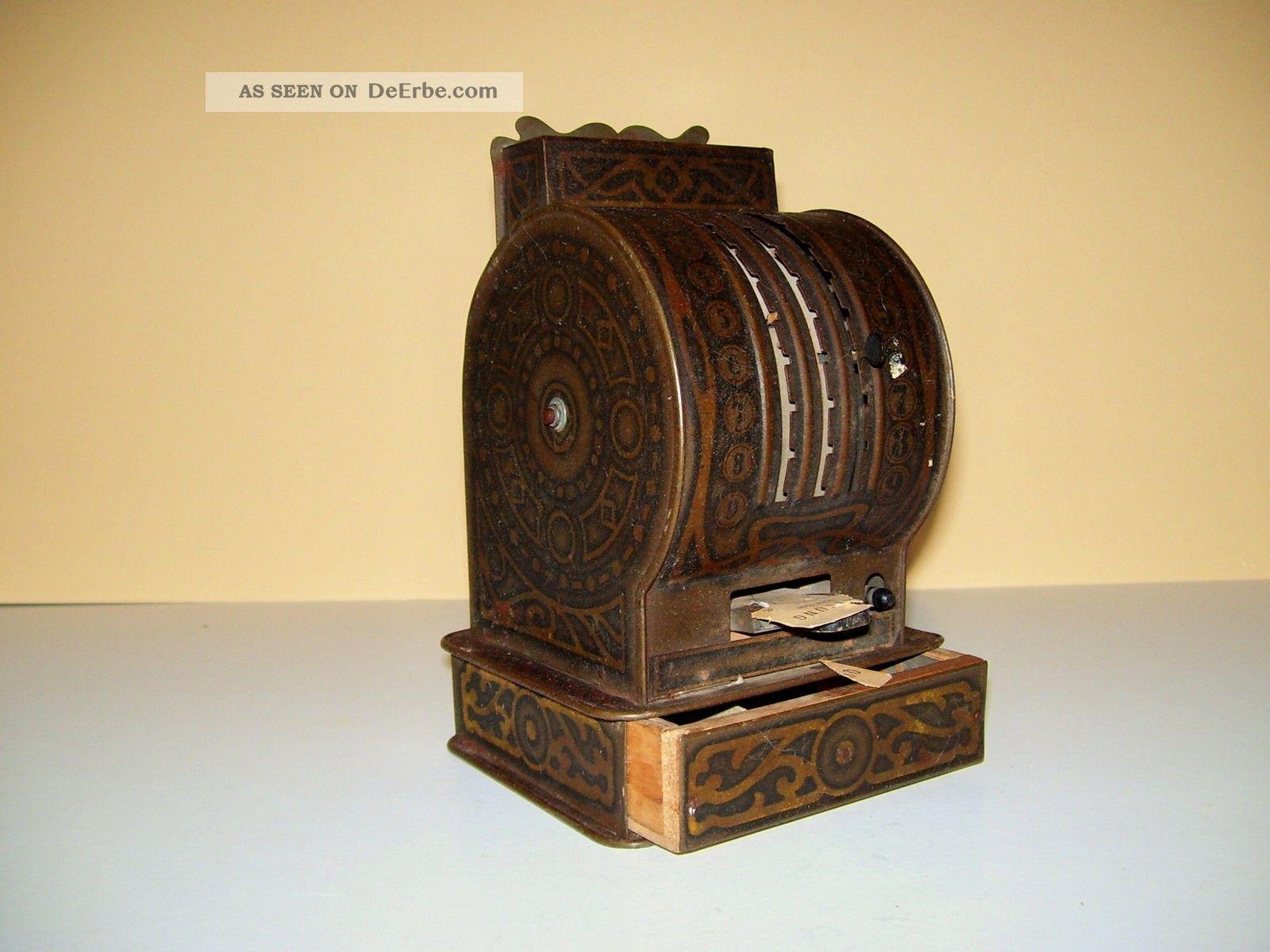 Rarität - Antike Kasse Aus Blech Lithografiert Vor 1900 F.  Kaufmannsladen Original, gefertigt vor 1945 Bild