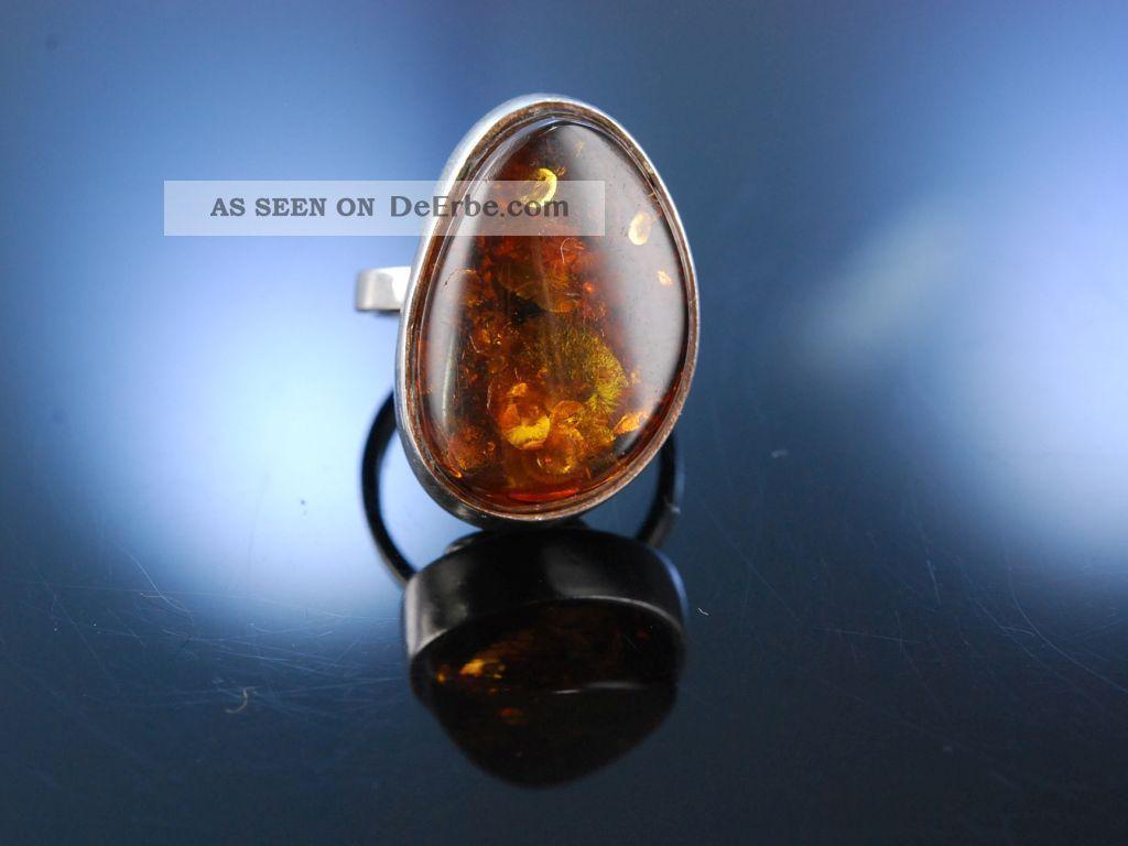 Stylish Vintage Bernstein Ring Silber MÜnchen Um 1970 Amber Ring Silver Ringe Bild